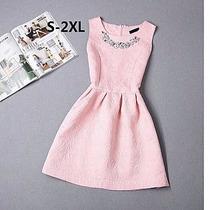 Mini Vestido Rosa, Tela Tipo Jacquard
