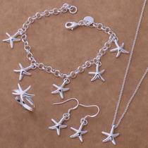 Collar Aretes Anillo Pulsera Mujer Joyería Fina Estrella Mar