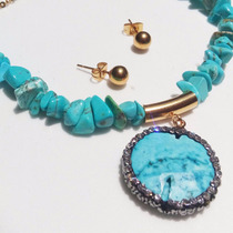 Regalo Collar Turquesa Swarovski Element + Aretes Baño Oro