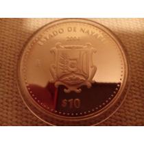 Moneda Escasa De Nayarit Escudos Onza Plata 100 Pesos
