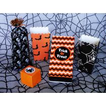 Halloween Kit Fiesta Dulceros Cajitas Calacas Mantel Araña