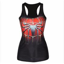 Playera Camiseta 3d Impresa Hombre Araña Superman Superheroe