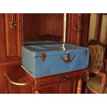 Antigua Maleta Azul De Lamina