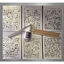 Kit De 6 Stiker 3d Para Decoracion De Uñas+pegamento+pinza