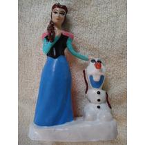 Vela Para Pastel Anna Con Olaf De Frozen