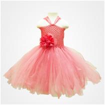 Vestido Tutu Para Niñas En Coral Con Beige Talla 2 A 4 Años