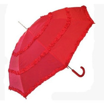 Sombrilla Fanciful Rizó Poliéster Parasol Umbrella Rojo