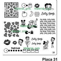 Placa Para Sello Tous, Pacman Cupido French Diseño Uñas Mn4