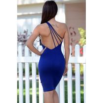 Moda Sexy Vestido Azul Asimetrico Espalda Desnuda Fiesta