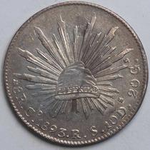 Aaaa 1893 8 Reales Go Rara Moneda Mexicana Peso Au Plata Cf5