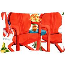 Sillas Rojas Patio Ver Tela Almohada Decorativa 6140pw1216