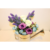 Arreglo Floral Centro De Mesa Regadera Flores Artificiales