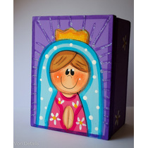 Caja Virgen Pintada A Mano, Recuerdo Para Eventos Sociales,