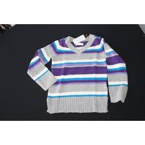 Sweater Gris Rayas Moradas/azul Childrens Place Talla 7-8