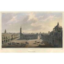 Lienzo Tela Grabado Plaza Puerto Veracruz México 1836 50x77