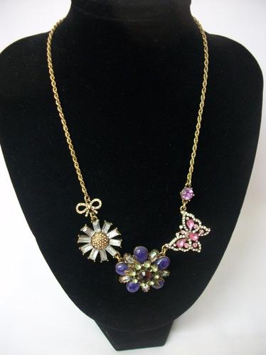 fce1fa2a1270 Bisutería Fina  Collar Mariposa Y Flores Brillante Elegante