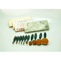 Kit Sombras Para Ojos Naked 1 2 3 Y Smoky + 10 Brochas Oval