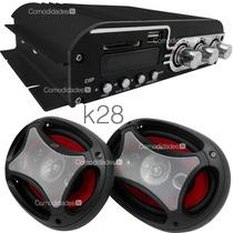 Paquete Amplificador Usb Sd Aux 1400w Con 2 Bocinas 6x9