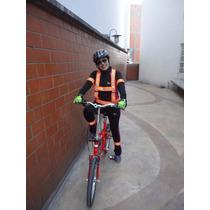 Kit Chaleco Arnés Brazalete Reflejante Ciclista Fluorecente