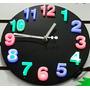 Reloj Pared 3d Con Iluminación Led Multicolor Hogar Oficina