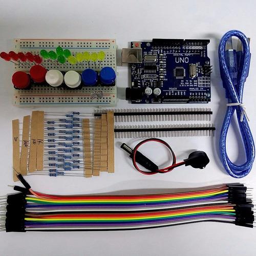 Arduino Uno R3 Kit Básico Con Proto 400 Pts Leds Y Otros!