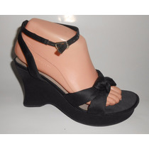 Fioni! Zapatos Negros De Fiesta, Moño Al Frente Wedge 24 Mex