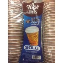 Vasos Desechables Para Cafe Con Tapa 12oz C/100