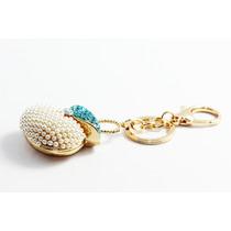 Llavero Fino Dorado Bolso Cristales Azules Llf16