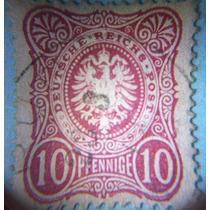 Estampilla 10 Pf. Alemania Escudo Armas, 1875 (usada)