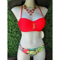 Bikini Strapless Push Up Rojo Con Cristales. Envio Gratis