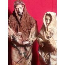 Par De Figuras Antiguas. José Y María. Maché. Ojo De Vidrio