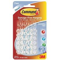 3m Command Clips Decorativos, Transparentes Blanco 20 Gancho