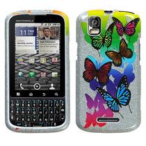 Protector Funda Motorola Pro Xt610 Plateada Mariposas