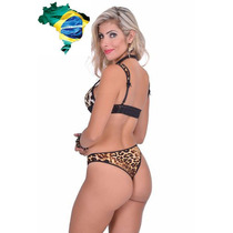 Sexy Conjunto Leopardo Brassier Tanga Sexshop Brasileño - G