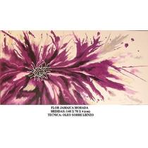 Abstracto Flor Jamaica Morada, Oleo Sobre Lienzo, Ferbelart