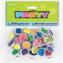 Plástico Del Partido Del Anillo De La Gema Favores 24ct Surt