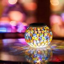 Solar Powered Mosaico Bola De Cristal Jardín Luces, Que Camb