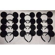 1 X Lote De 12 Orejas De Mickey Mouse Negro Sólido Diadema M