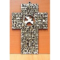 Cruz Padre Nuestro, Angel De La Guarda Mdf Personalizada