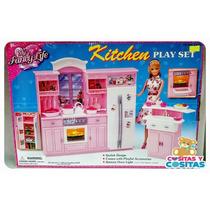 Mueble Para Casa De Muñecas Barbie Cocina Grande Con Luz