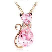 Gato Collar Dije Gatito Rosa Cristal Austriaco