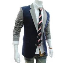 Saco Blazer Juvenil Caballero Dos Colores Slim Fit Japonés