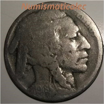 Moneda 5 Centavos Nickel Indio Bufalo 1918 D Dificil Usa