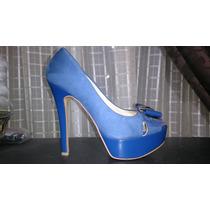 Zapatillas Ante Charol Azul Rey 23.50mex Ene126