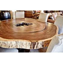 Mesa comedor de madera de parota redondo en venta en lomas for Comedores en oferta en monterrey