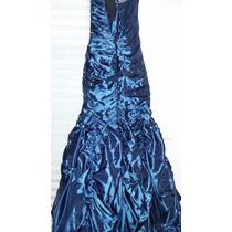 Vestido Gala Azul Metalico, Talla 0, Usado $2500 Pesos