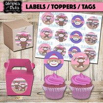 Changuito Toppers Para Quequitos,etiquetas,tags,sock Monkey