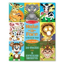 Melissa & Doug Make-a-cara Loca Animales Sticker Pad