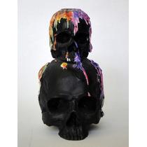 Porta Vela Cráneos Negros Con Cera Calaca Halloween Calavera