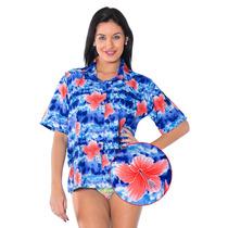 La Leela Likre Zapato Floral Playa Mujeres Camiseta Azul Rea